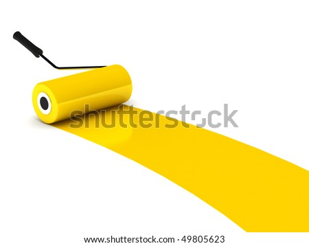 Yellow paint roller isolated on white background. High quality 3d render. - stock photo