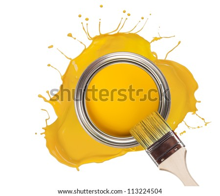 Yellow paint splashed out from can, isolated on white background - stock photo