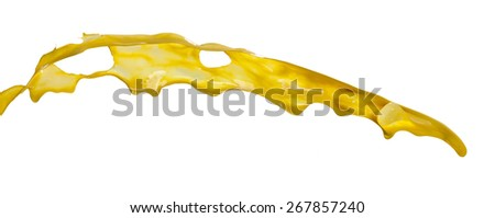 yellow paint splashes isolated on white background