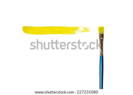 Yellow Paint stroke isolated on white background.  - stock photo