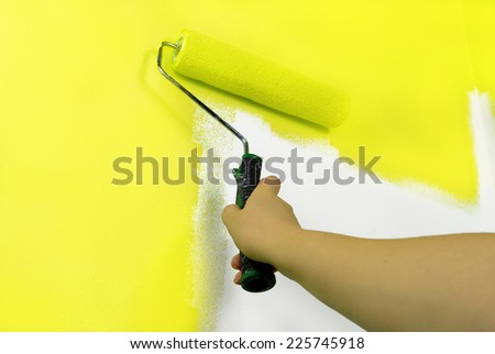 yellow painting wall - stock photo