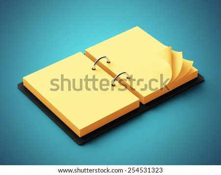 Yellow Paper Agenda isolated on blue background