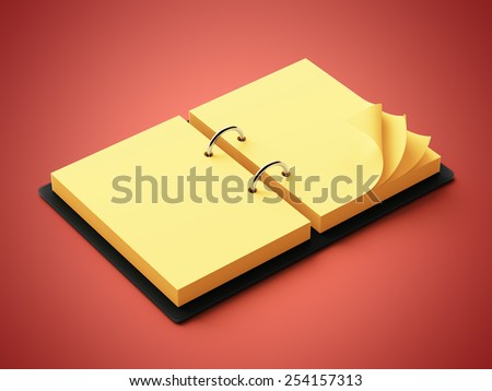 Yellow Paper Agenda isolated on red background