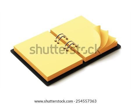 Yellow Paper Agenda isolated on white background