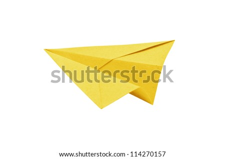 Yellow Paper aircraft, Paper Plane on a white background,