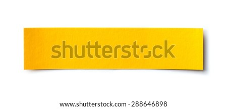 yellow paper banner isolated on white - stock photo