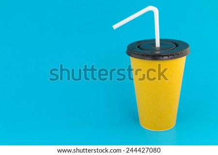 Yellow paper cup with straw  - stock photo