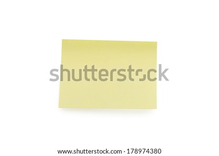 Yellow paper note blank, isolated on white background