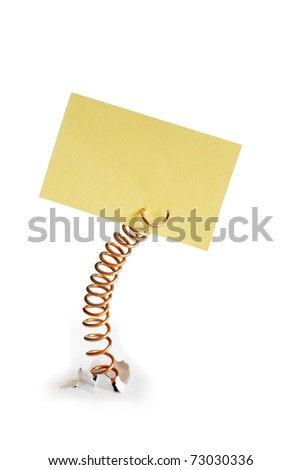Yellow paper note pad attached with metal spring. Isolated on white background