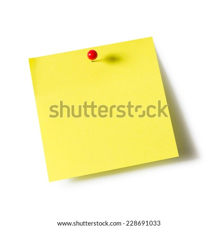 Yellow paper note pad attached with push pin on white background