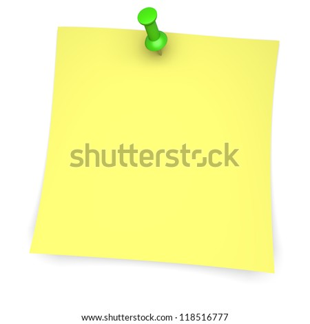 Yellow paper note with green pushpin. 3d image