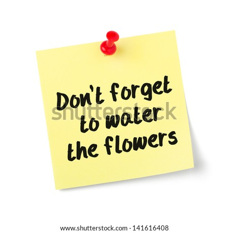 Yellow paper note with text Do not forget to water the flowers - stock photo