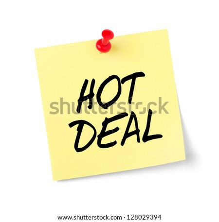 Yellow paper note with text Hot Deal - stock photo