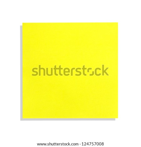 yellow paper notes isolated on white background