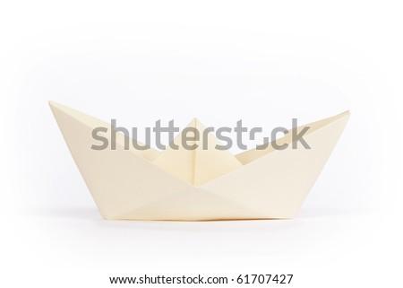 yellow paper ship - stock photo