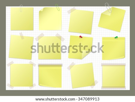 Yellow paper sticker set with pin, paper clip and sticky tape. Raster illustration