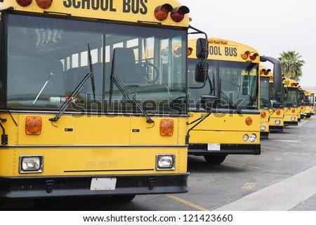 Yellow parked school buses in the parking lot - stock photo