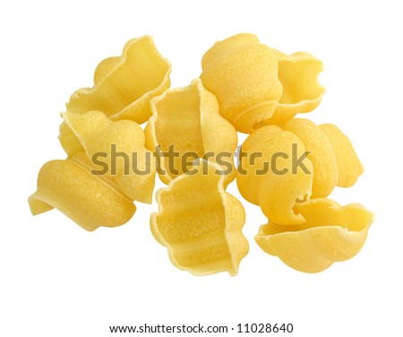 Yellow pasta isolated on white background