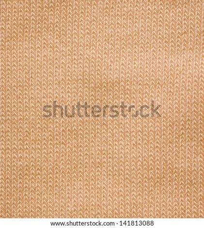 Yellow pattern of woolen soft fabric - knitted wool texture - stock photo