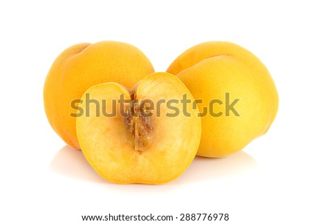Yellow peach isolated on the white background.