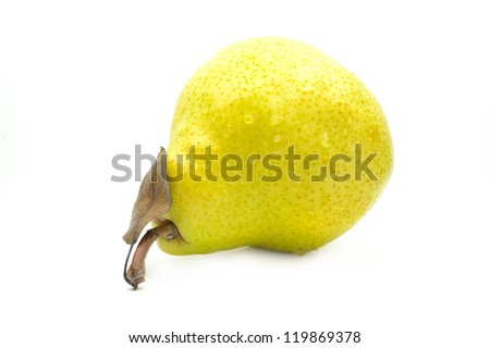 Yellow pear on a white background close-up - stock photo