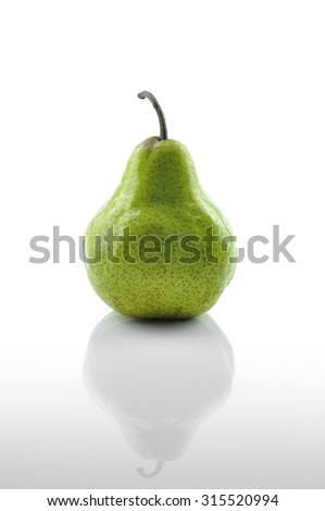 Yellow Pear on White Background, Selective Focus - stock photo