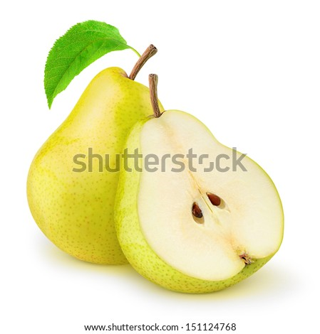 Yellow pears, cut and whole over white background - stock photo