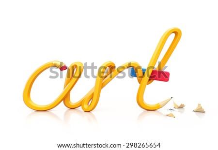 Yellow pencil in shape of word ART. Unusual art illustration - stock photo