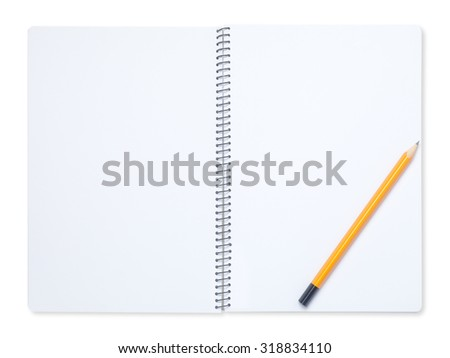 Yellow  pencil on a blank notebook
