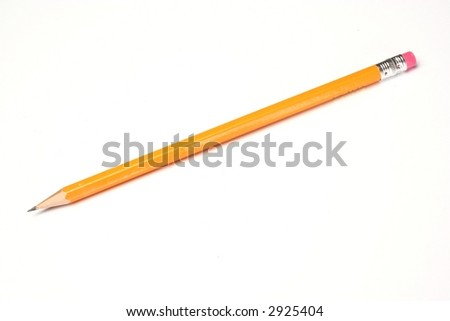 Yellow pencil with pink eraser attached isolated on a white background