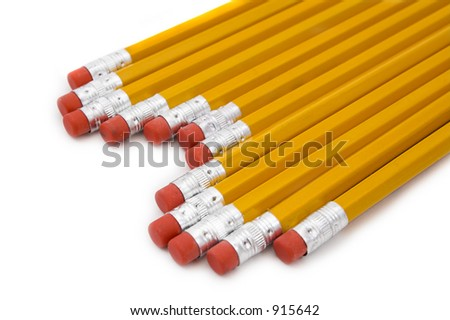 Yellow pencils with erasers - stock photo