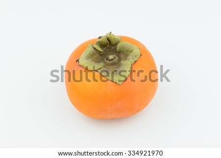 yellow persimmon on isolate white background