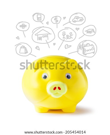 Yellow piggy bank and icon design to represent the concept of saving money  - stock photo