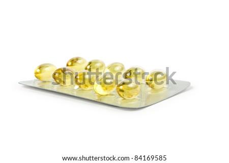 yellow pill - stock photo