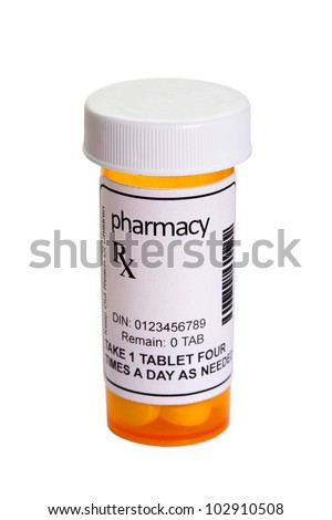 Yellow Pill Bottle, concept for Healthcare And Medicine - stock photo