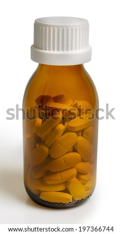 yellow pill bottle isolated on a white background  - stock photo
