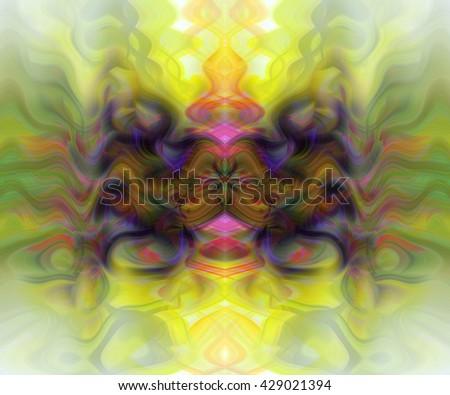 Yellow Pink green orange abstract impressionism art wave spiral intense background backdrop hot blue orange purple intricate ink blot design  - stock photo
