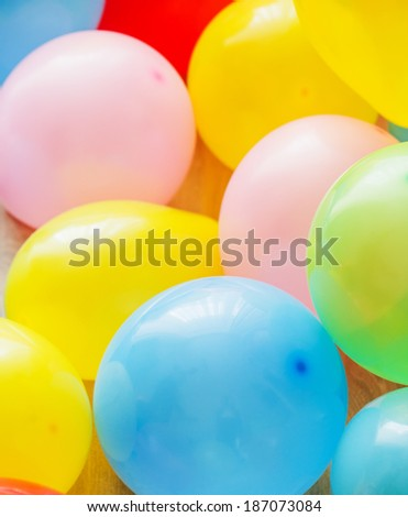 Yellow, pink, green, red and blue balloons - stock photo