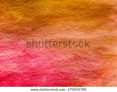 Yellow Pink Red Orange Watercolor Paper Background Texture Pattern Overlay - stock photo