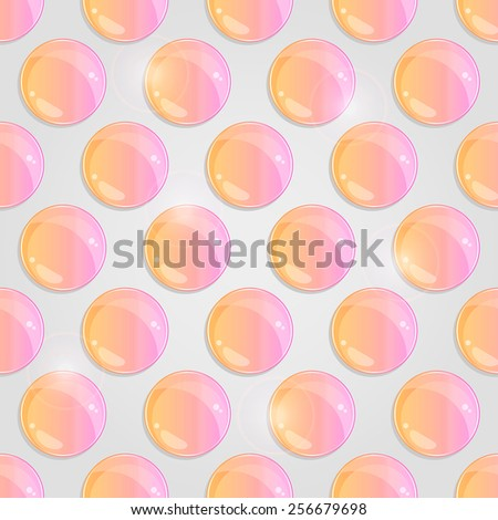Yellow Pink Seamless Pattern with Round Shiny Glass Drop on Grey Background.  Illustration - stock photo