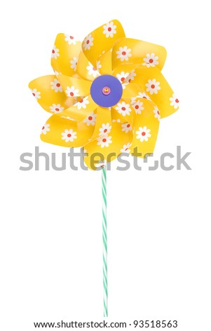 Yellow pinwheel with daisy flowers on white background, clipping path included - stock photo