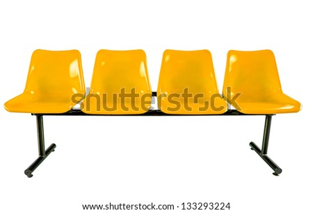 Yellow plastic chairs isolated on white background