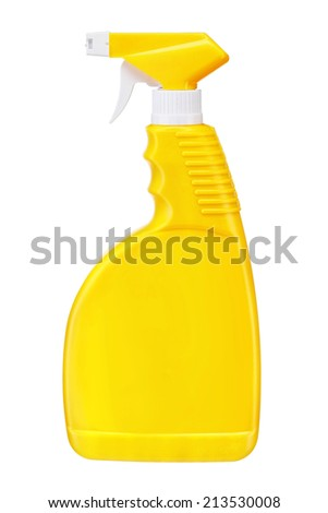 Yellow plastic dispenser / studio photography of spray multipurpose cleaner - isolated on white background