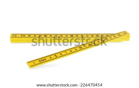 yellow plastic folding rule isolated over white background   - stock photo