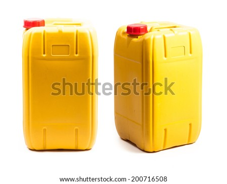 Yellow plastic gallon - stock photo