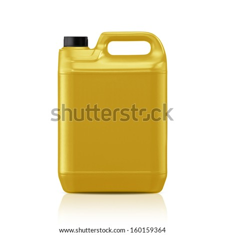 Yellow plastic gallon, jerry can  isolated on a white background.  (with clipping work path) - stock photo