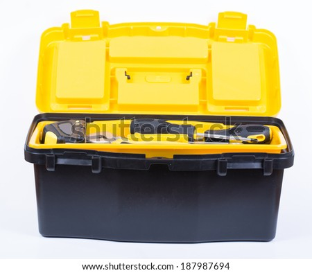 Yellow plastic tool box with white background - stock photo