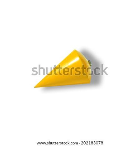 yellow plummet on white background    - stock photo