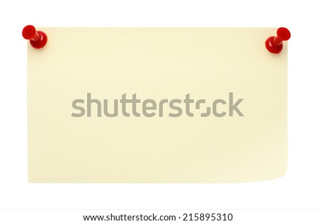 Yellow post-it note pinned  with two red pins,  isolated on a pure white background. Waiting for your message. - stock photo