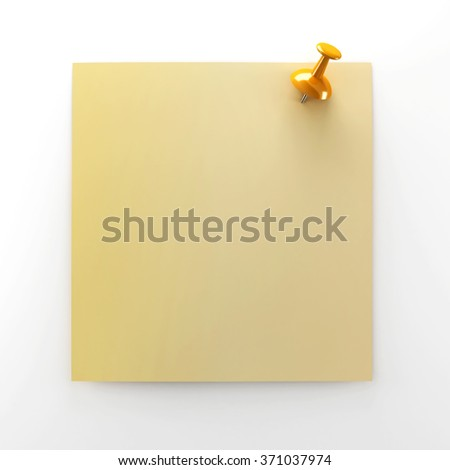 Yellow post-it note with orange pin.
